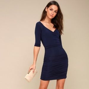 Lulus Navy Blue Off-the-Shoulder Bodycon Dress NWT